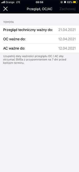 Aplikacja Gdzie Jest Auto i funkcja Przegląd AC/OC